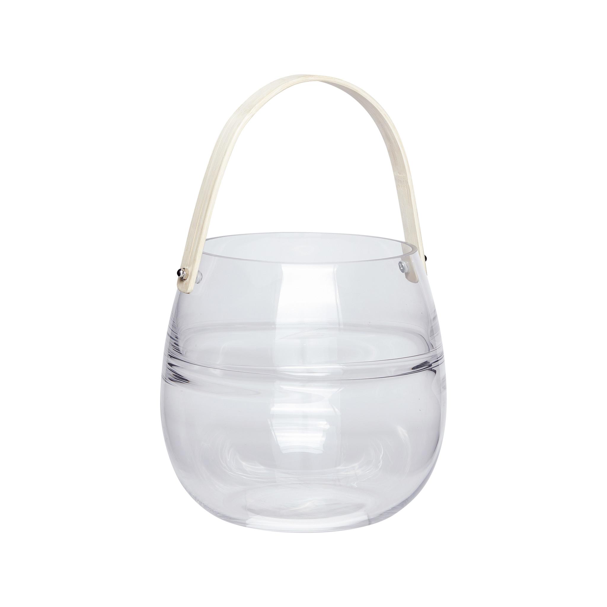 Hubsch Lantaarn met handvat, glaset van bamboe, helder, klein-950307-5712772058992