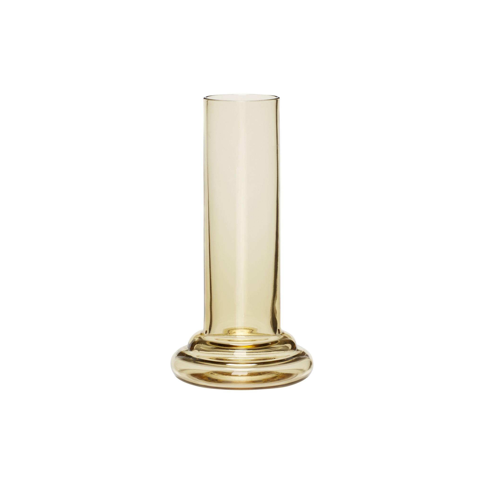 Hubsch Vaas, glas, geel-950406-5712772059067