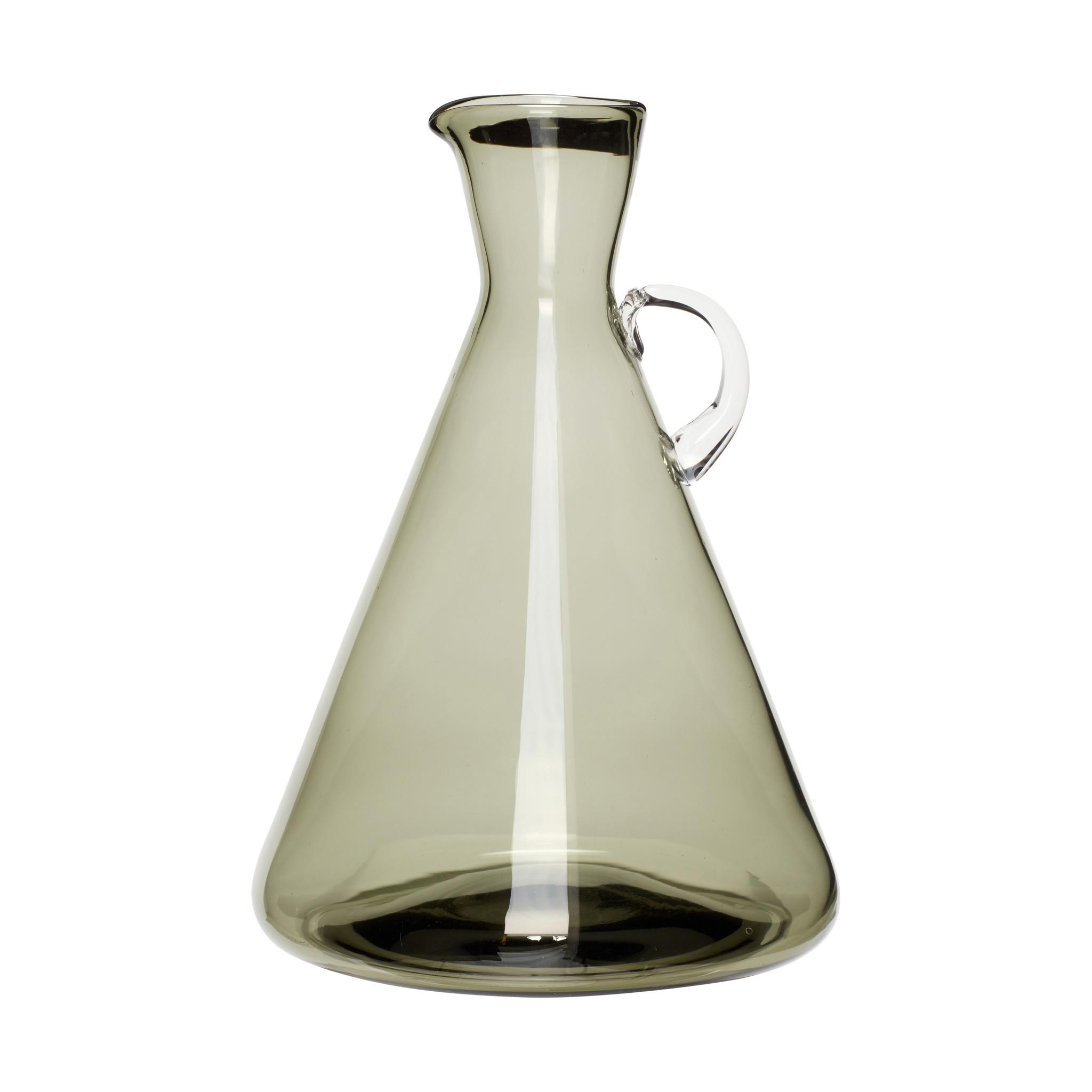 Hubsch Vaas met handvat, glas, groen, groot