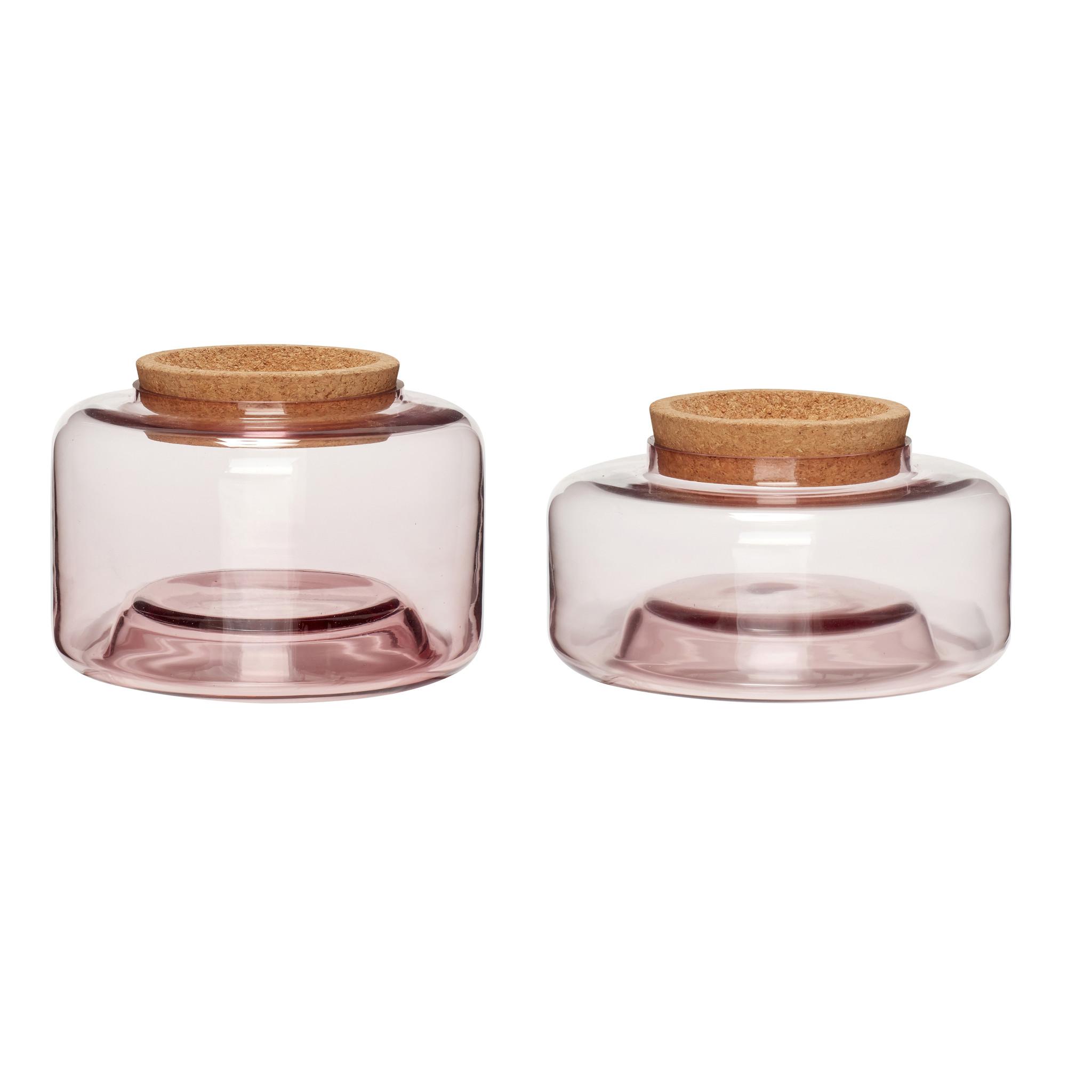 Hubsch Opslagglas met kurken deksel, roos, set van 2-950416-5712772059142