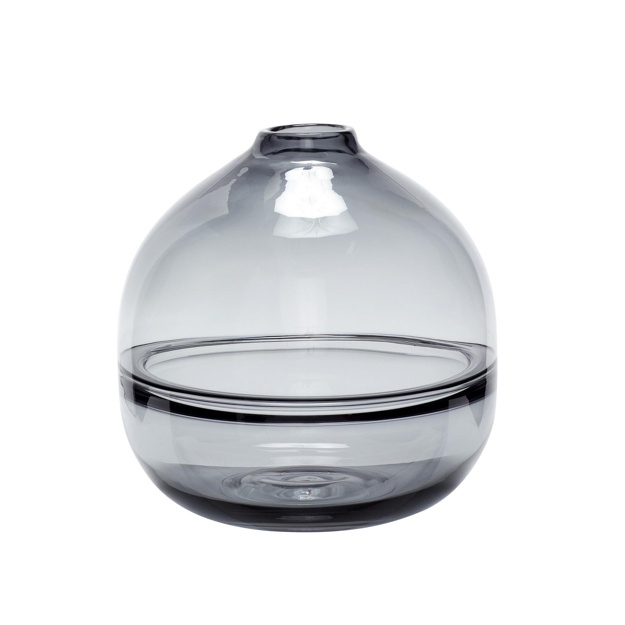 Hubsch Vaas, glas, grijs-950502-5712772060728