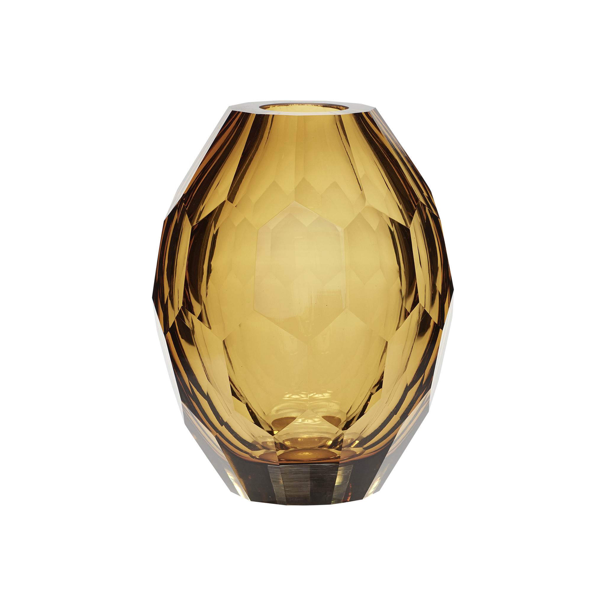 Hubsch Vaas, glas, helder / geel-950503-5712772060735