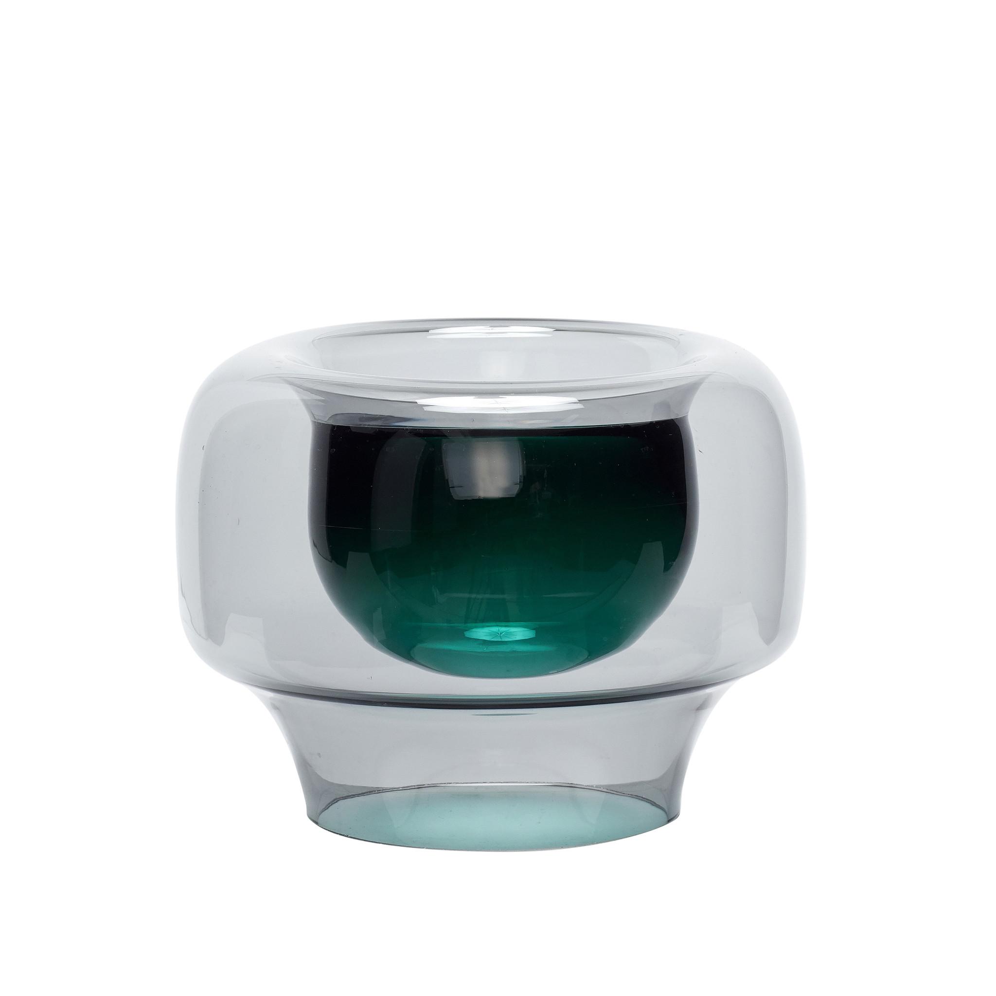 Hubsch Vaas, glas, gerookt / groen-950506-5712772060766
