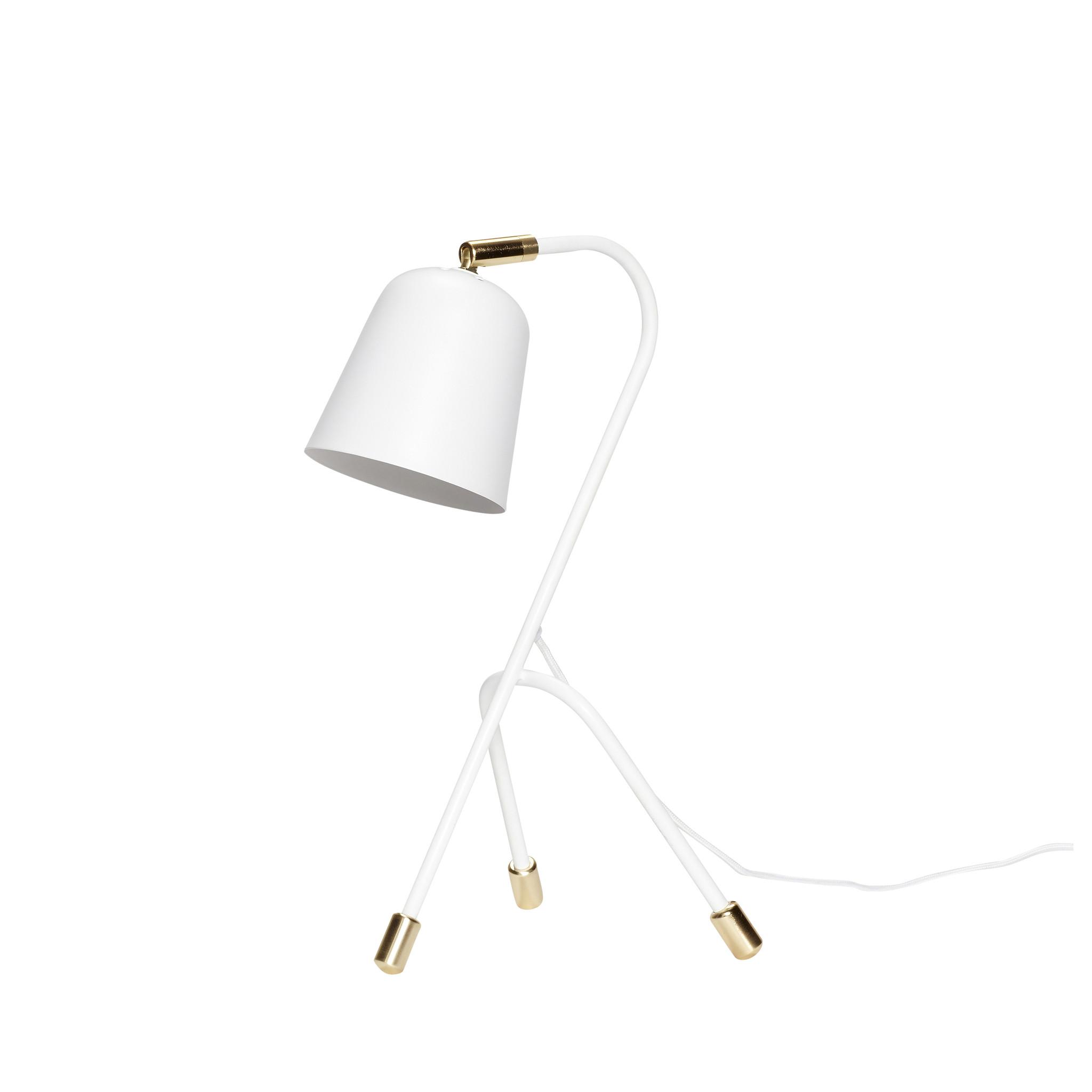 Hubsch Tafellamp, metaal, wit / messing