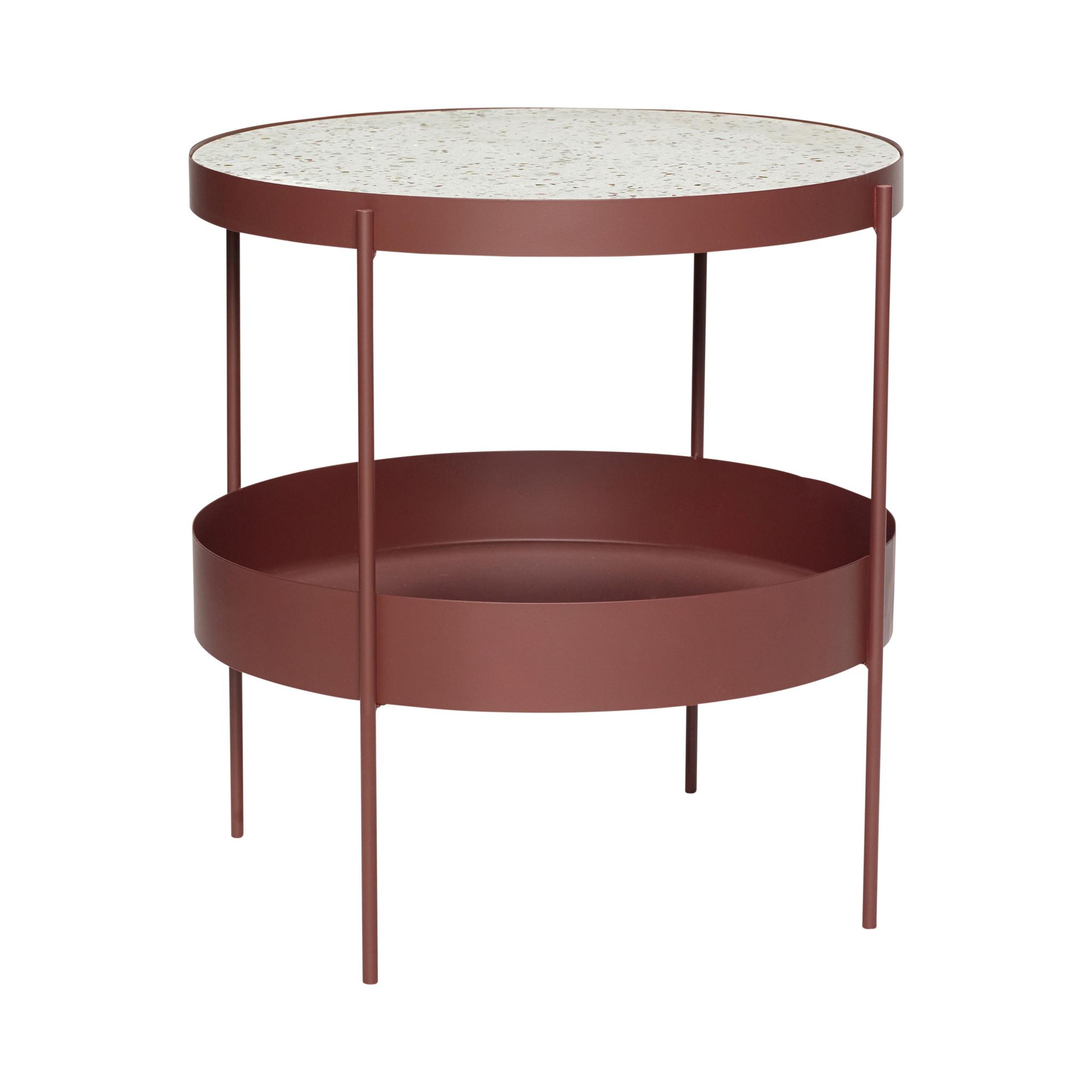 Hubsch Tafel, metaal / terrazzo, rood / wit