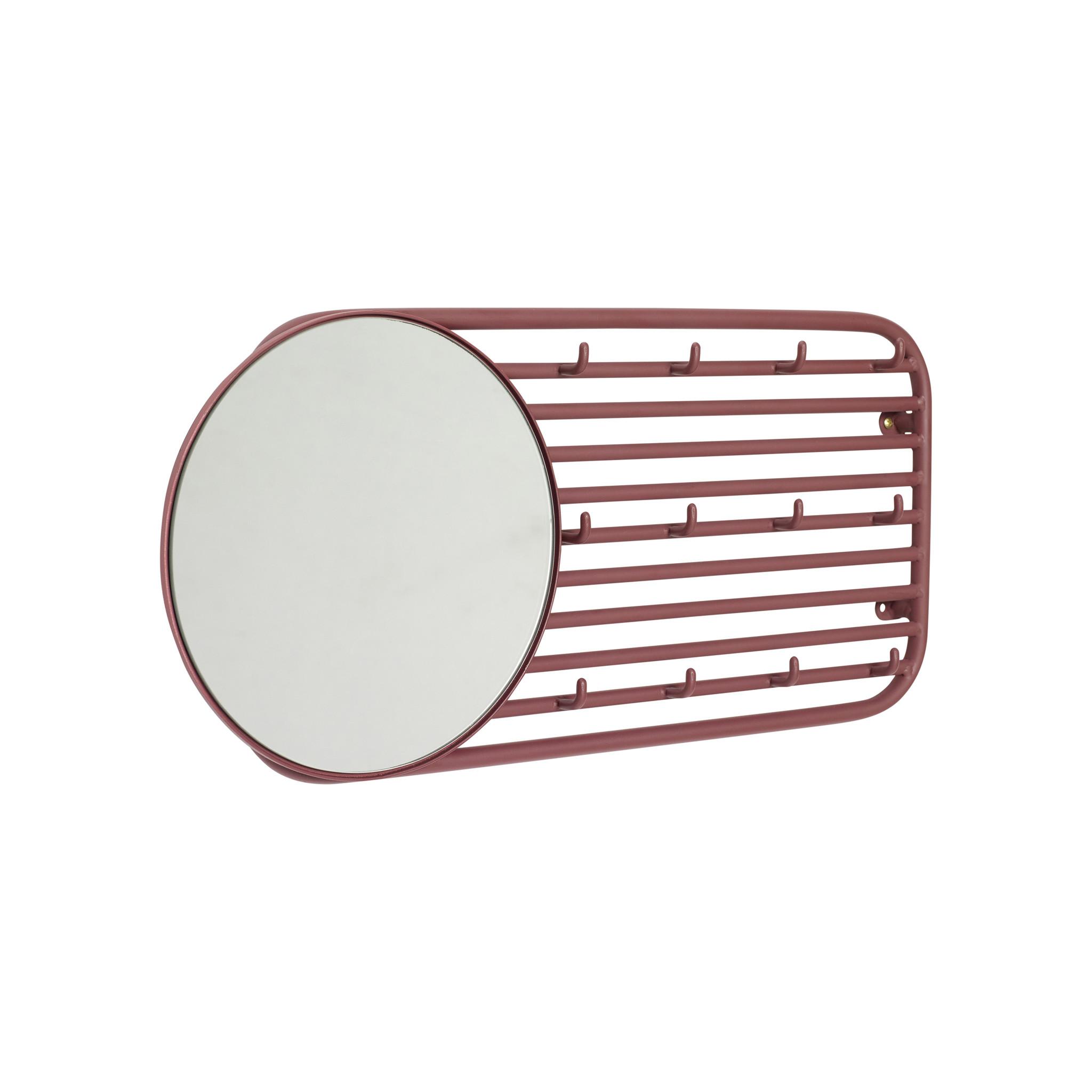 Hubsch Kapstok met spiegel, metaal, rood-990831-5712772069127