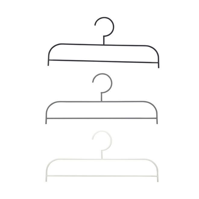 Hanger, metaal, zwart / grijset van wit, set van 3