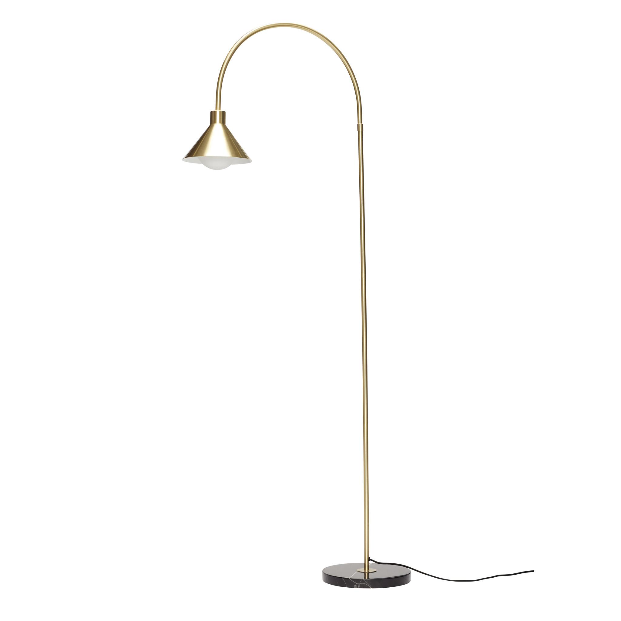 Hubsch Staande lamp met marmeren voet, zwart / messing-990914-5712772071199