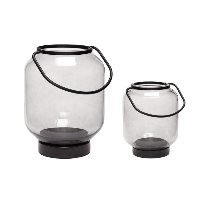 Lantaarn, glaset van metaal, zwart / helder, set van 2