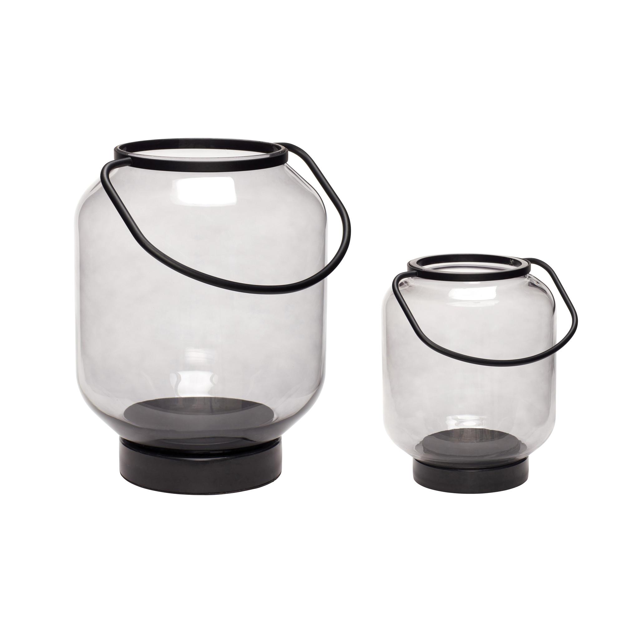 Hubsch Lantaarn, glaset van metaal, zwart / helder, set van 2