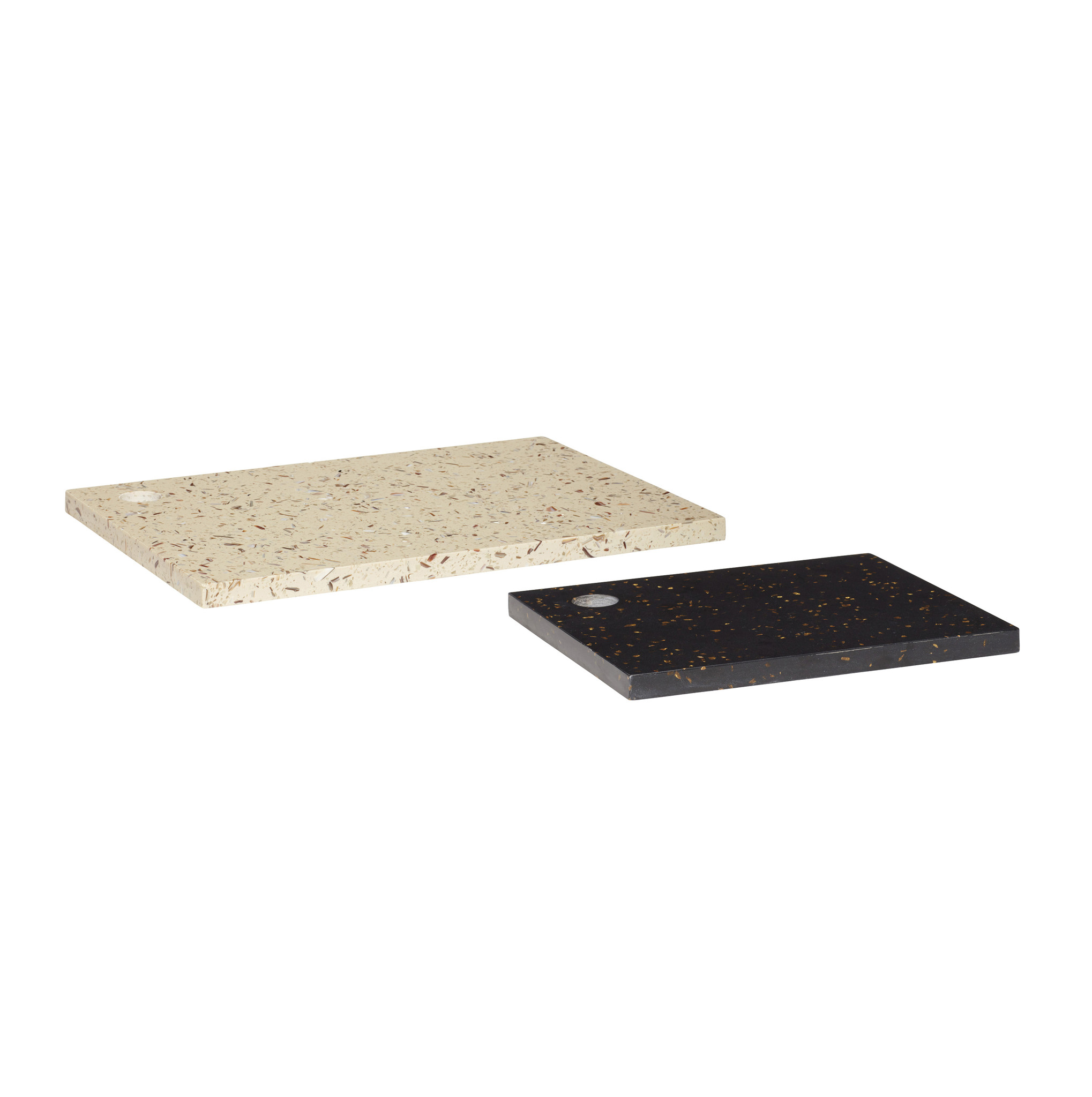 Hubsch Bord, terrazzo wit / zwart, set van 2-990919-5712772071243