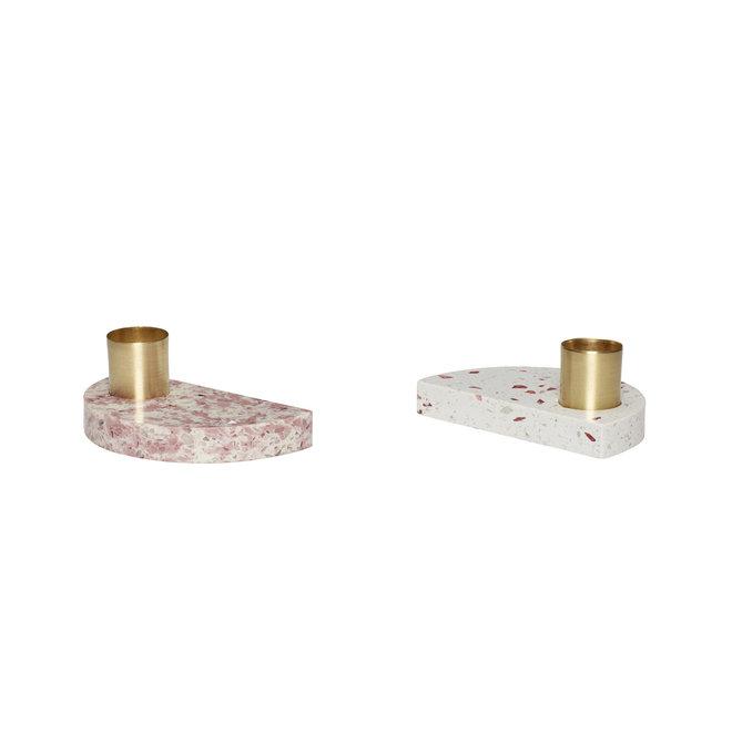 Kandelaar, terrazzo, roze / wit, set van 2