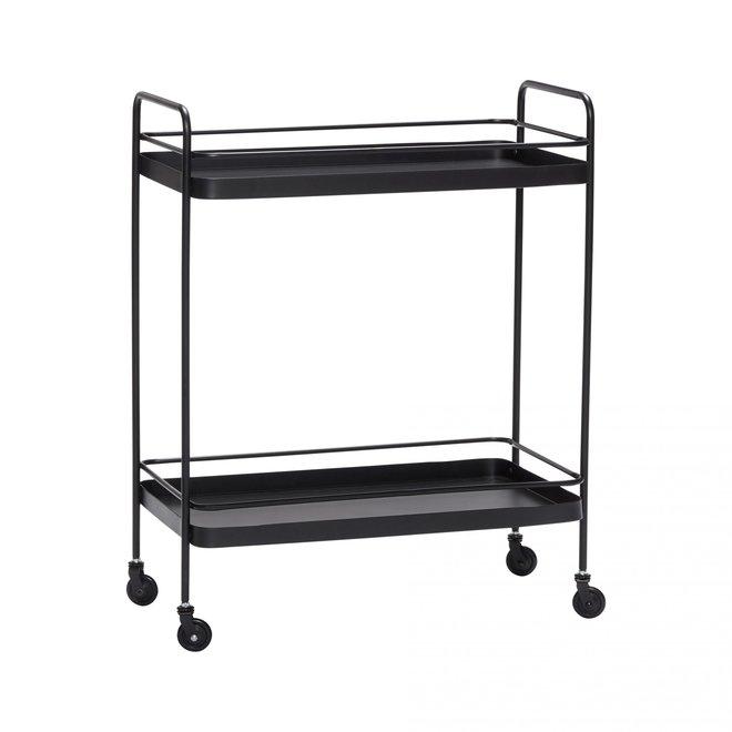 Trolley zwart metaal - 020705 - 62 x 34 x h79 cm