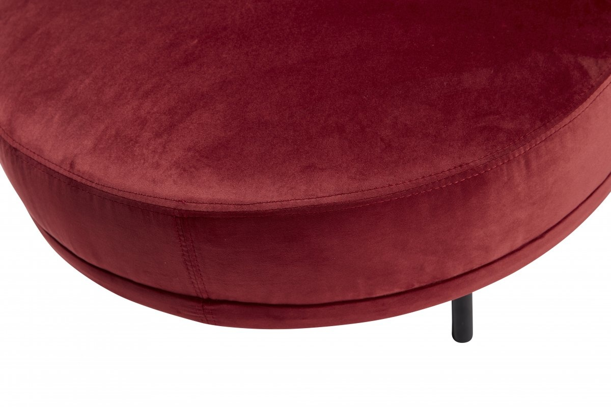 Hubsch Kruk, rond, velourset van metaal, rood / zwart-100704-5712772064269