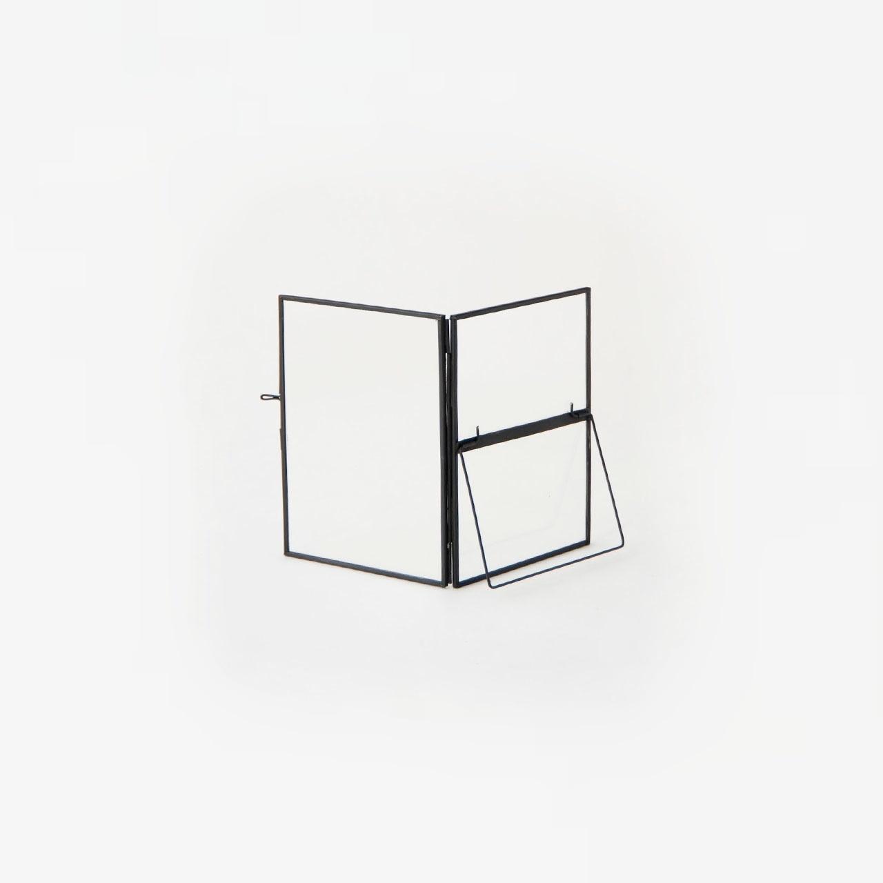 Hubsch fotolijst met voet - metaal & glas - zwart - set van 3