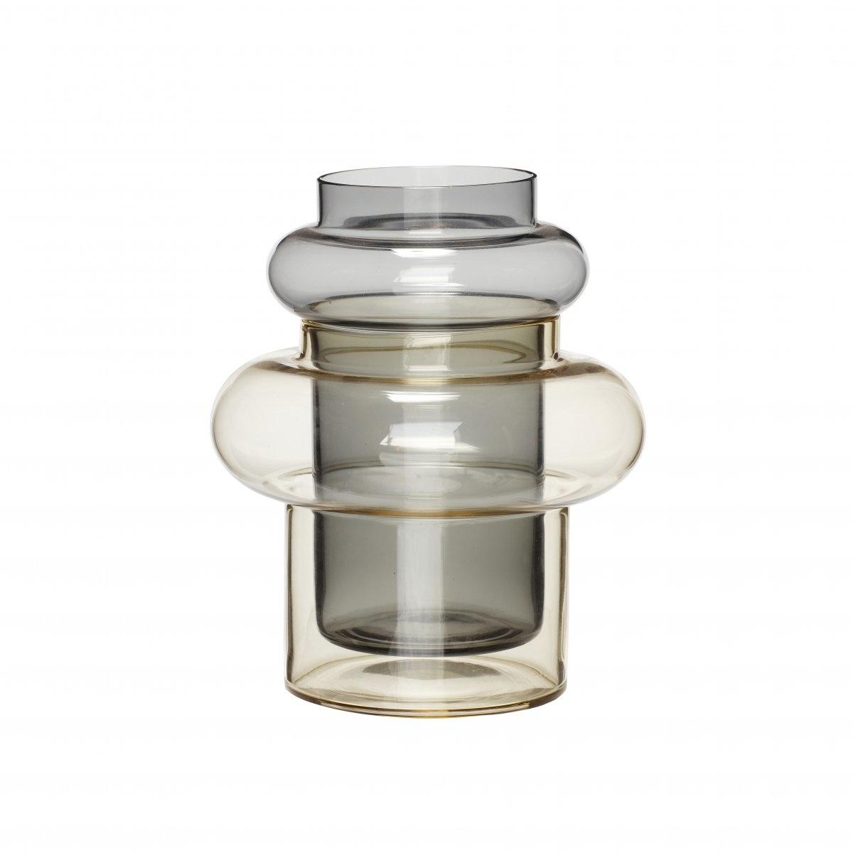 Hubsch Vaas, glas, geel / gerookt-950407-