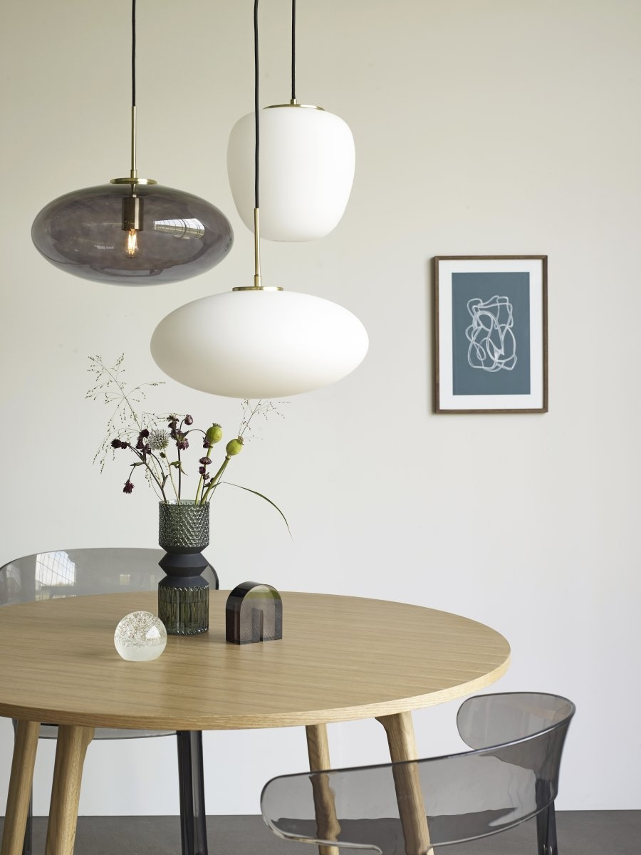 Hubsch Hanglamp glas, wit/messing/goud