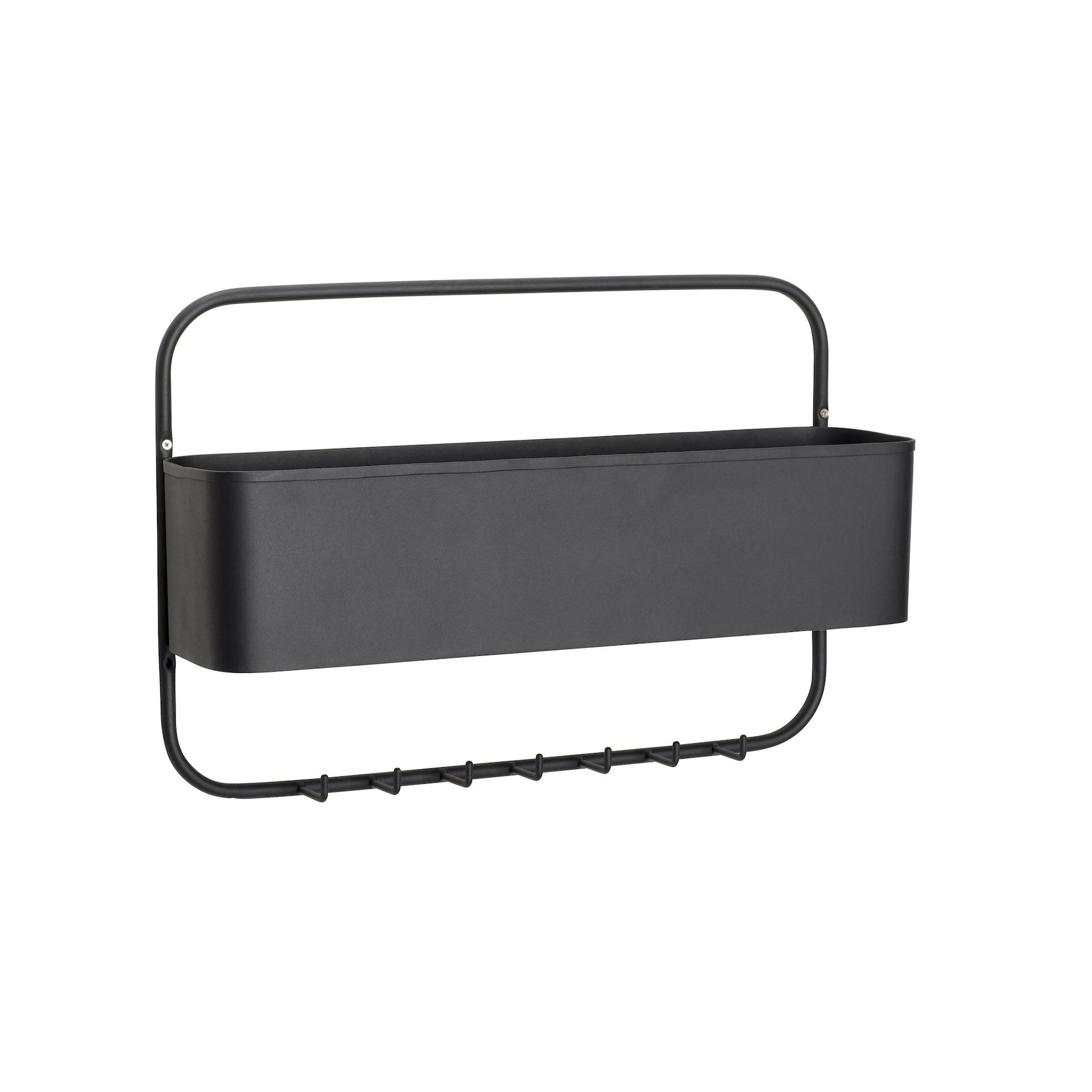 Hubsch wandrek met hanger - metaal - zwart - 62x41x16cm-20912-5712772071687