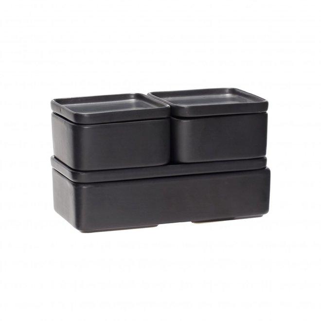 opbergpot - aardewerk (keramiek) -  zwart - 12 x 7 en 24 x 7 cm - set van 3