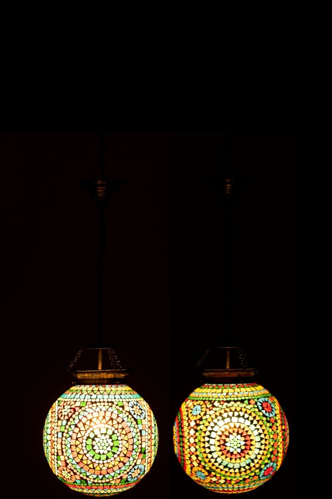 J-line Hanglamp Eki Mozaiek Glas Mix Small Assortiment Van 2