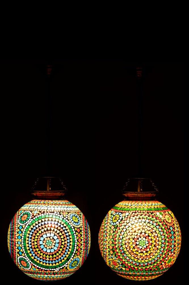 J-line Hanglamp Eki Mozaiek Glas Mix Large Assortiment Van 2-1669-5400924016692