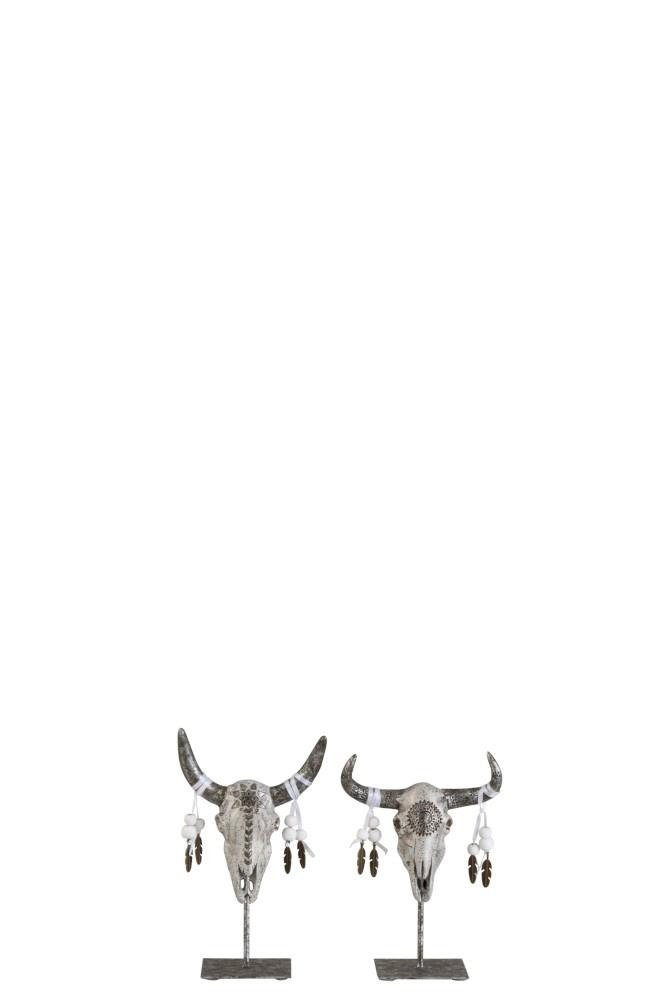J-line Schedel Ibiza Op Voet Poly Grijs/Zilver Small Assortiment Van 2-2078-5400924020781