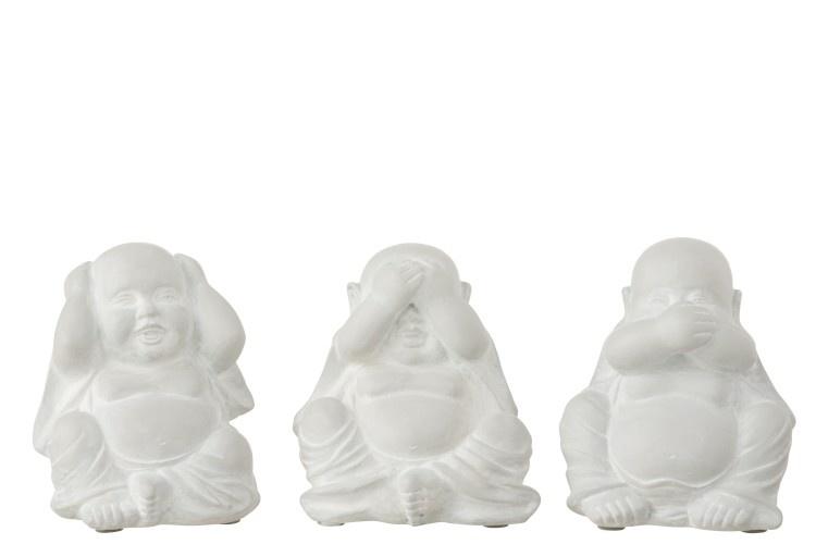 J-line Boeddha Horen/Zien/Zwijgen Poly Wit Assortiment Van 3