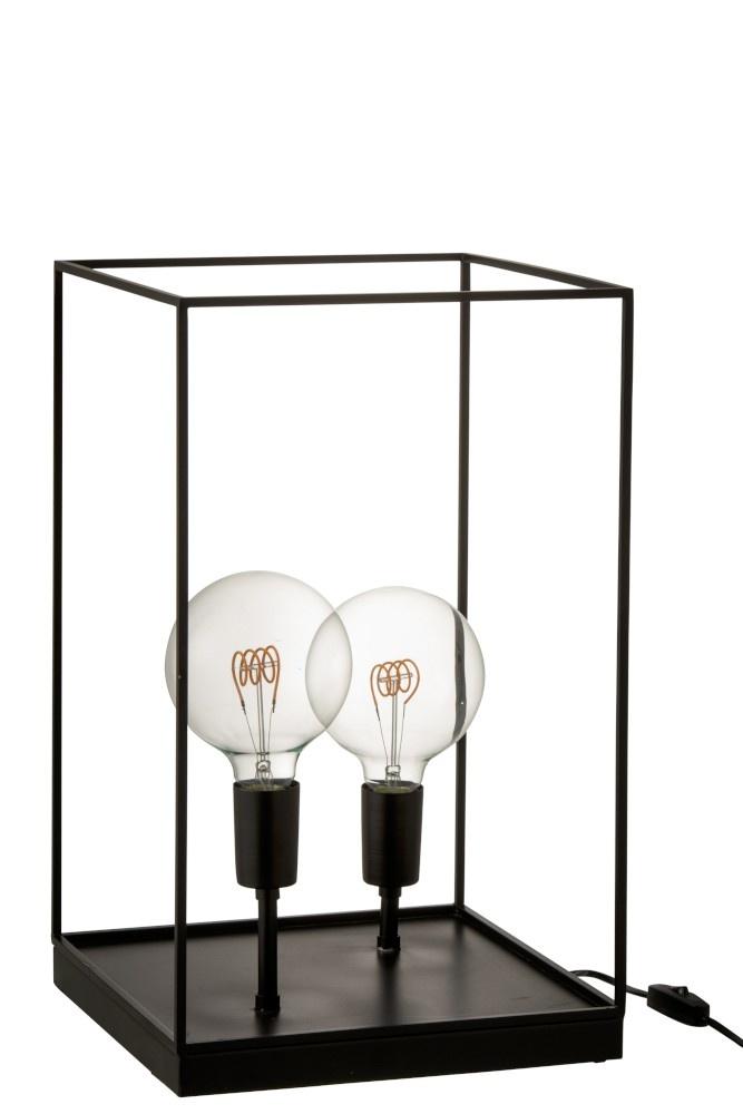 J-line Lamp 2 Lampen Rechthoekig Frame Metaal Zwart Large-2977-5400924029777