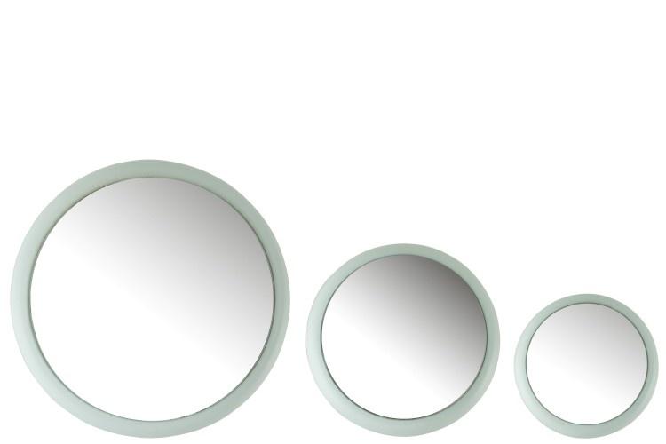 J-line Set Van 3 Spiegels Metaal Mat Licht Blauw