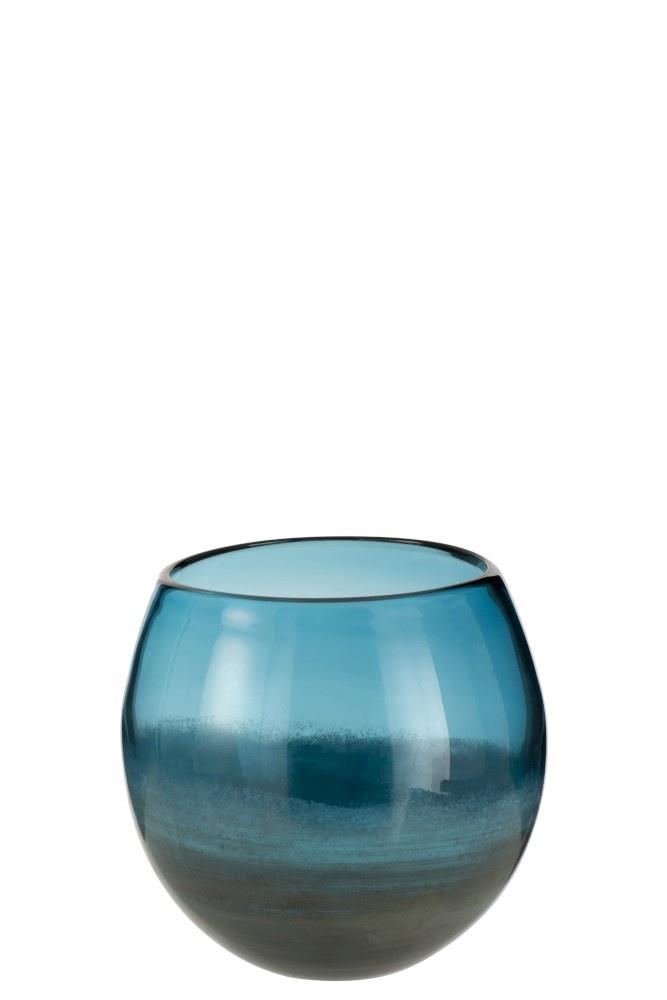 J-line Vaas Rond Glas Blauw Grijs Small-3610-5400924036102