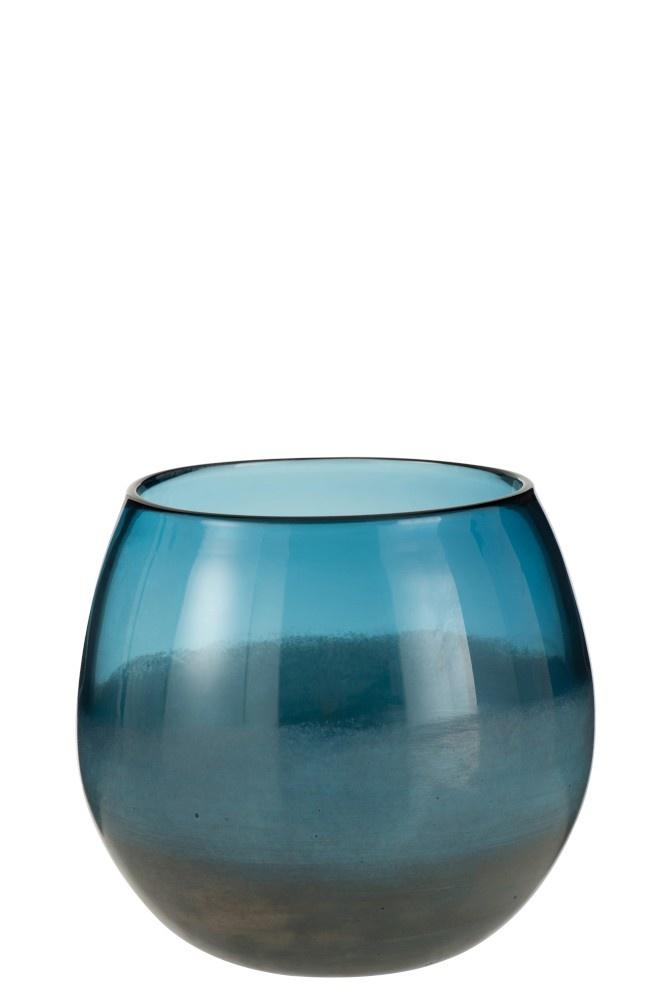 J-line Vaas Rond Glas Blauw Grijs Large-3611-5400924036119