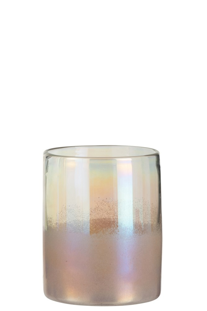 J-line Vaas Rond Hoog Glas Roze Small-3613-5400924036133