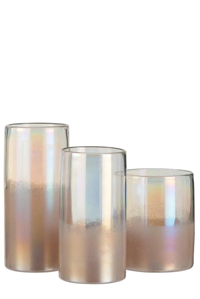 J-line Vaas Rond Hoog Glas Roze Large