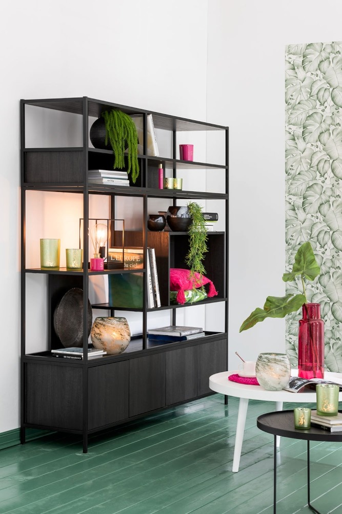 J-line Vaas Rond Glas Groen Wit Small-3616-5400924036164