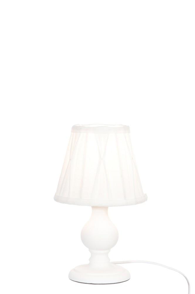J-line Lampvoet+Kap Wit Mini Bol Hout Wit 15X26Cm-48170-5415203481702