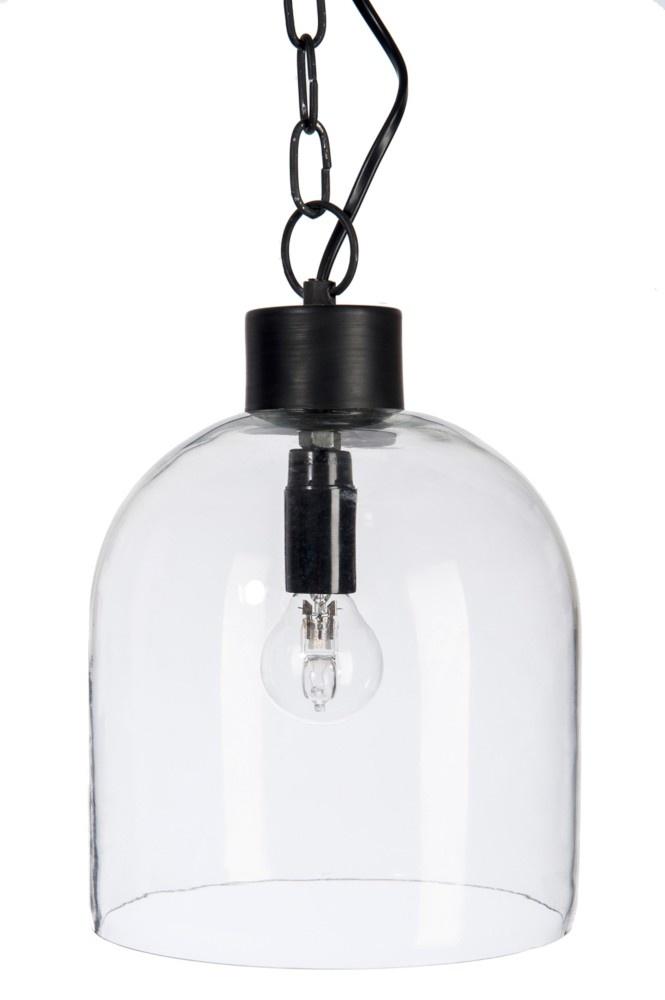 J-line Lampkap Hangend Glas/Metaal Zwart