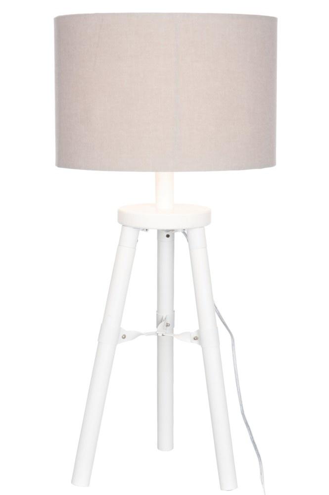 J-line Lampvoet+Kap 3Poot Hout Wit S 30X30X72Cm