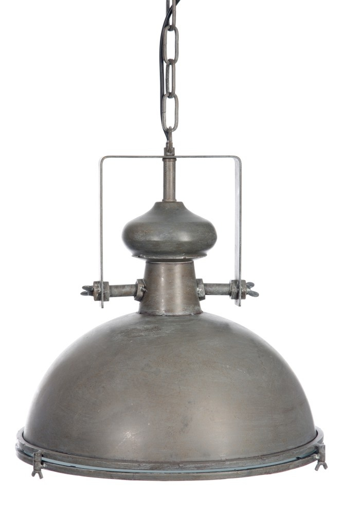 J-line Lamp Industrieel Bol Metaal/Glas Grijs-53598-5415203535986