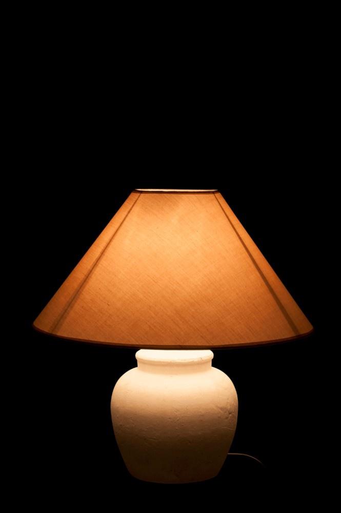J-line Lampvoet+Kap Keramiek Mat Wit S 23X23X34Cm-56006-5415203560063