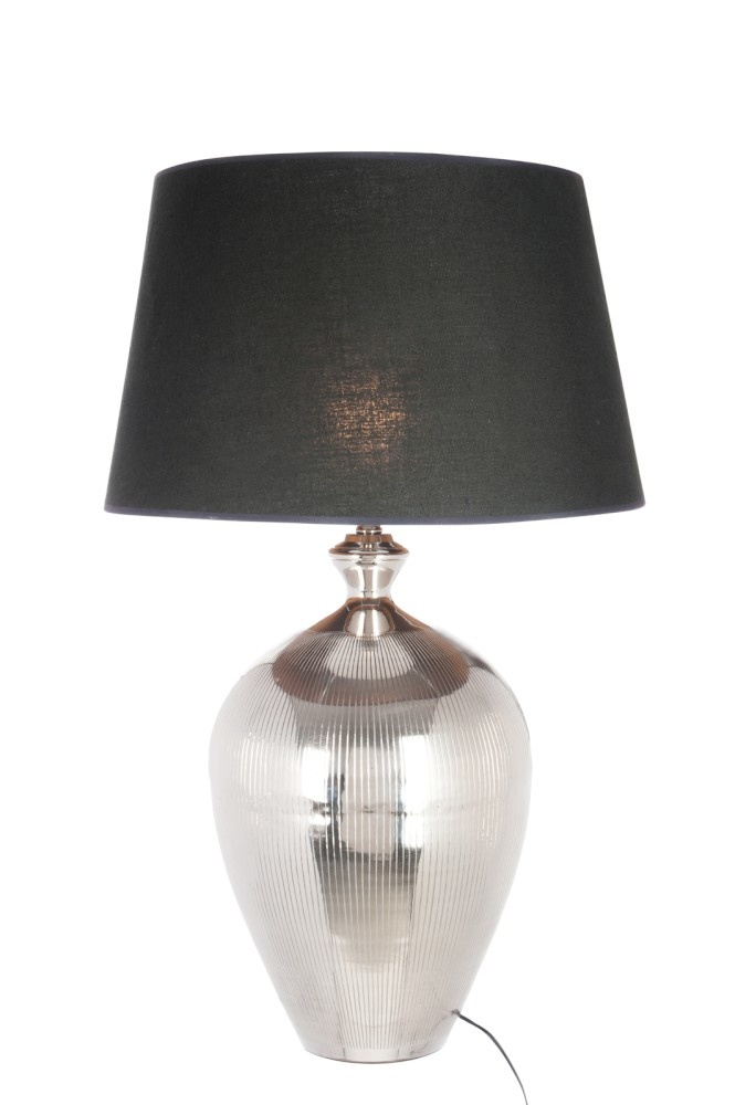J-line Lampvoet+Kap Bol Lijn Aluminium Zilver/Zwart