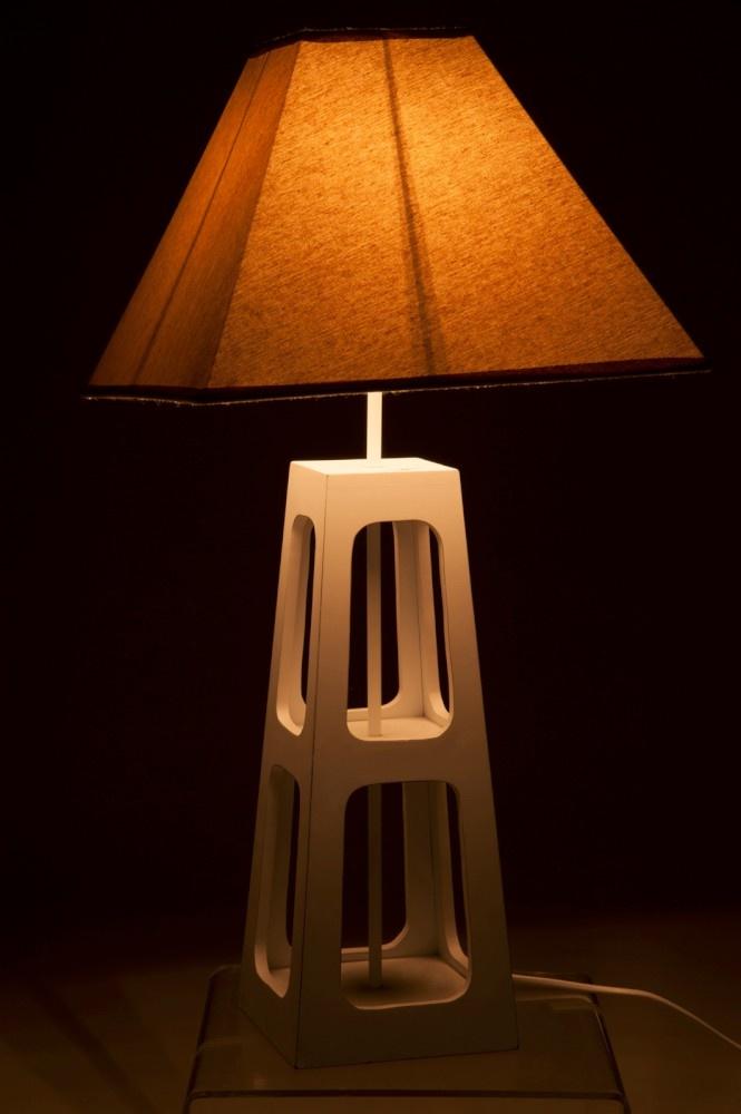 J-line Lampvoet+Kap 2Niveau E14 Hout Wit S 16X16X53Cm