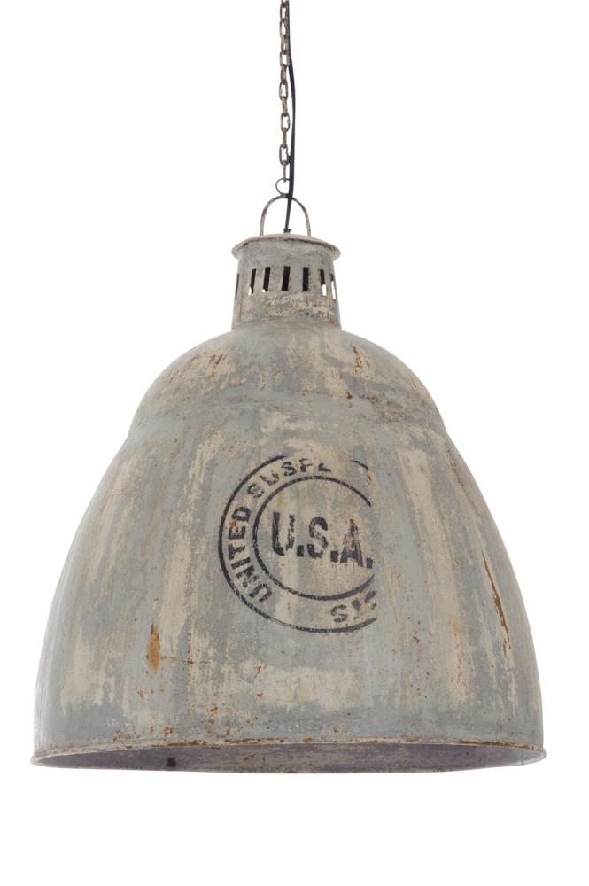 J-line Hanglamp Usa E27 Metaal Grijs