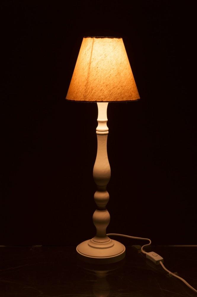 J-line Lampvoet+Kap Rond Bol E14 Hout Naturel 15X15X64Cm