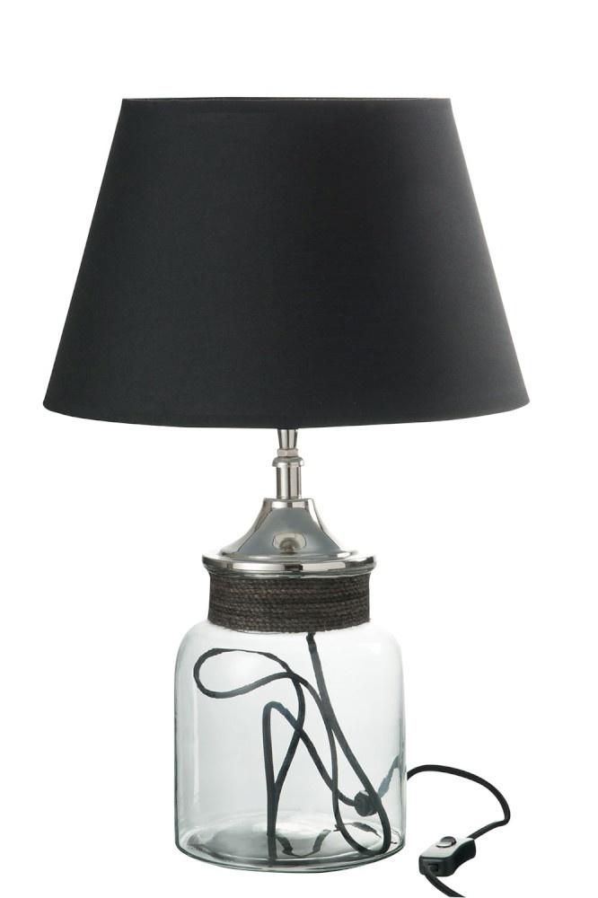 J-line Lampvoet+Kap Pot+Snoer Glas/Aluminium Transparant 73X26X26Cm-66010-5415203660107