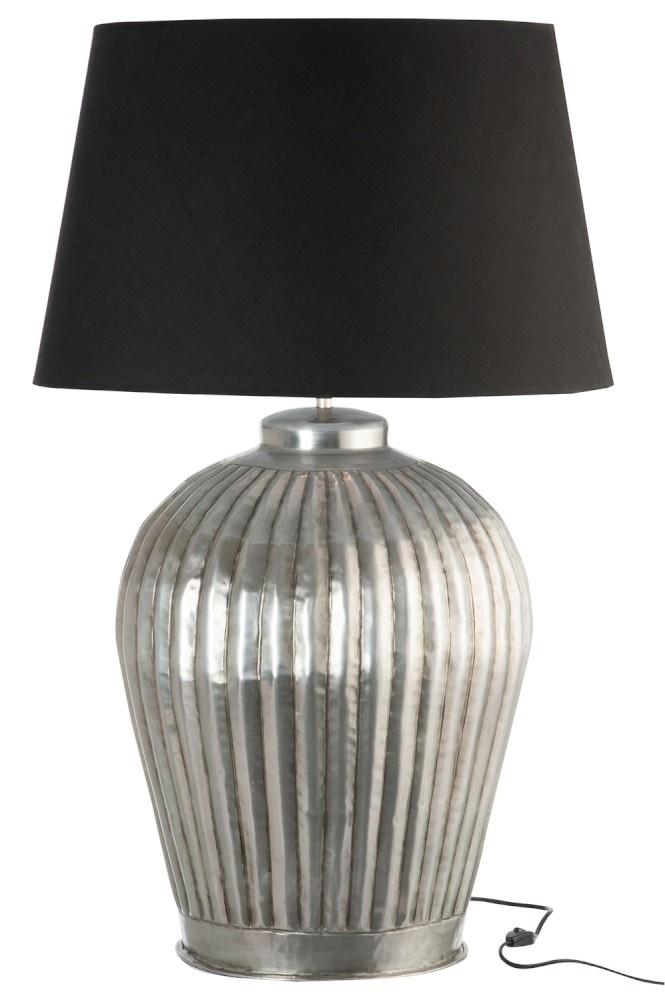 J-line Lampvoet+Kap Ribbels Aluminium Grijs/Zwart Large 56X56X92Cm-66297-5415203662972