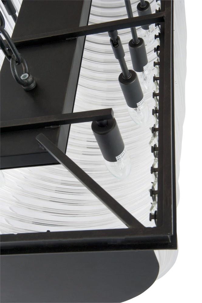J-line Luchter 14Lichten Rechthoek Metaal/Glas Zwart 51X122X37Cm