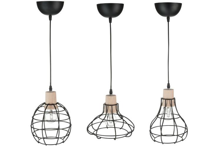 J-line Hanglamp Mini Metaal/Hout Zwart Assortiment Of 3