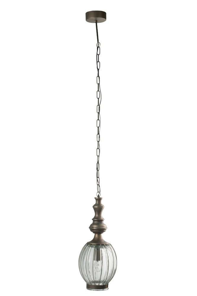 J-line Hanglamp Bol Metaal/Glas Grijs-68642-5415203686428