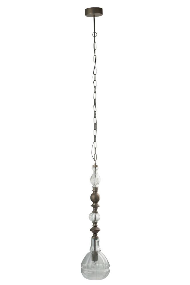 J-line Hanglamp Smal Metaal/Glas Grijs-68643-5415203686435