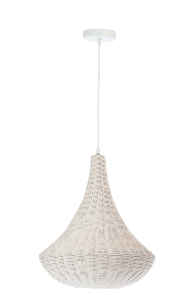 J-line Hanglamp Kegelvorm Metal Rotan Wit